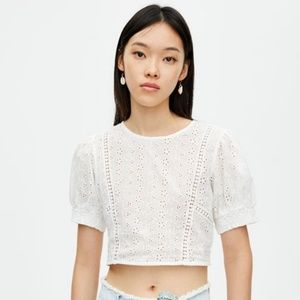 Pull & Bear swiss embroidered puff sleeve crop top